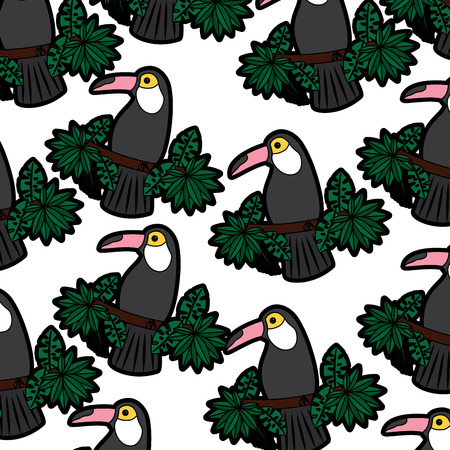 Toucan on branch and leaves bird tropical pattern image vector illustration design