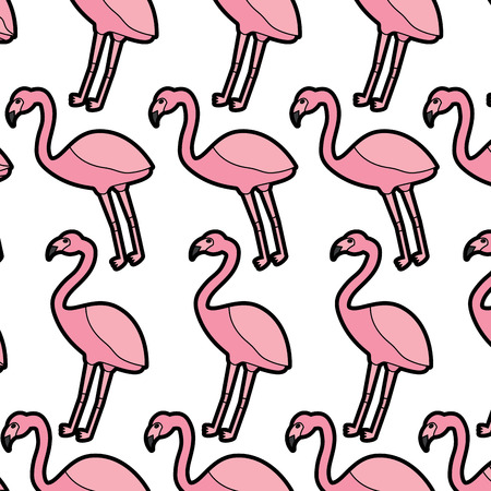 フラミンゴ鳥熱帯模様イメージベクトルイラストデザイン