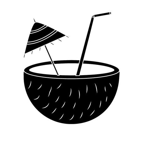 coconut half umbrella straw fruit icon image vector illustration design Illustration