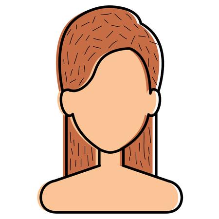 Beautiful woman shirtless avatar character illustration design. Çizim