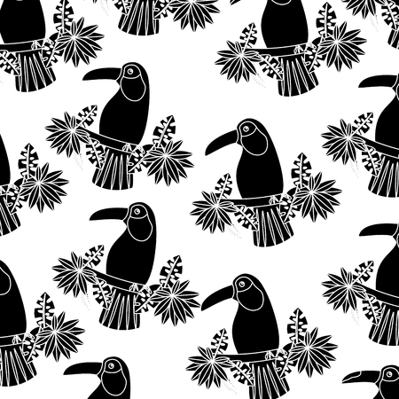 Toucan on branch and leaves bird tropical pattern Illustration