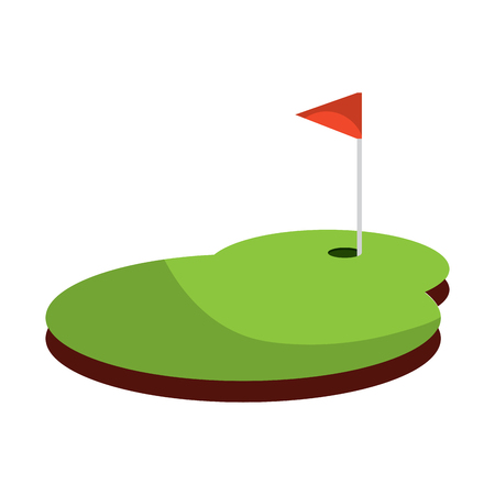 Field flag hole golf icon image vector illustration design