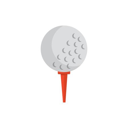 Ball on tee golf icon Illustration