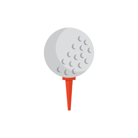 Ball on tee golf icon Vectores
