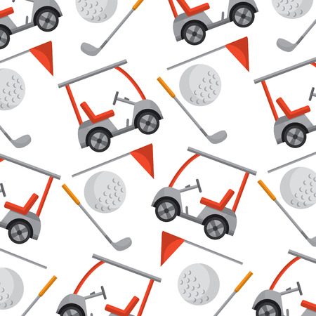 cart ball flag golf pattern image vector illustration design