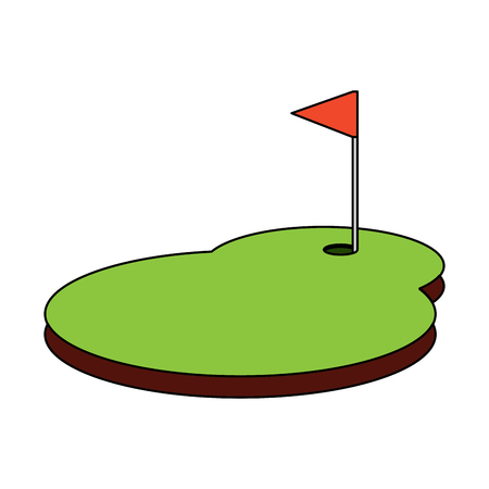 Field flag hole golf icon image vector illustration design