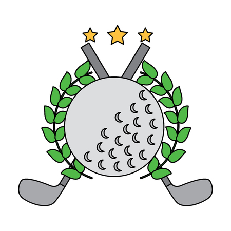 Ball and clubs with laurel wreath stars golf emblem image vector illustration design