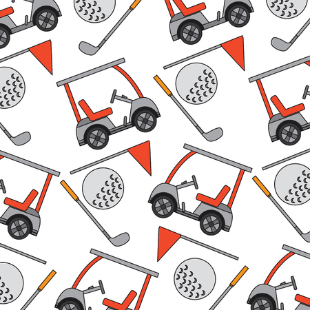 Cart ball flag golf pattern image vector illustration design Illustration