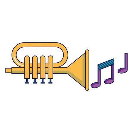 Tromba con progettazione dell'illustrazione delle note di musica. Archivio Fotografico - 92180785