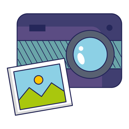 Photographic camera with picture illustration design.