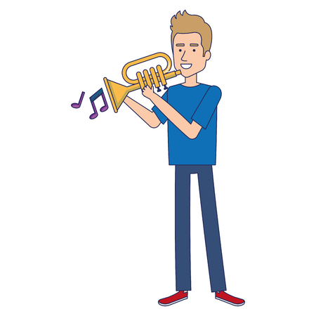 Man playing trumpet avatar vector illustration design. Stock Illustratie