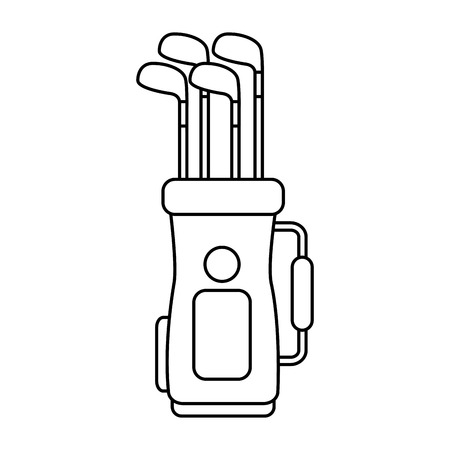Golf bag full of clubs sport equipment vector illustration Illustration