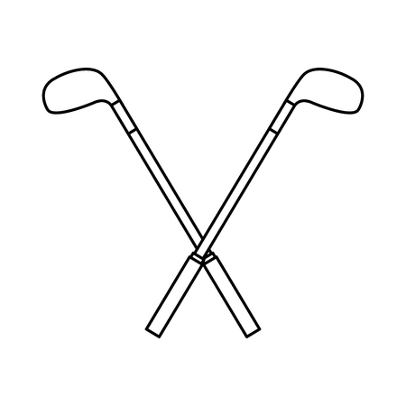 Crossed golf clubs stick equipment image vector illustration