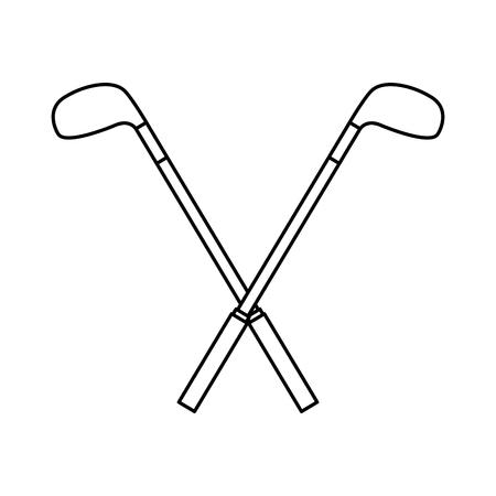Gekruiste golfclubs plakken apparatuur afbeelding vector illustratie