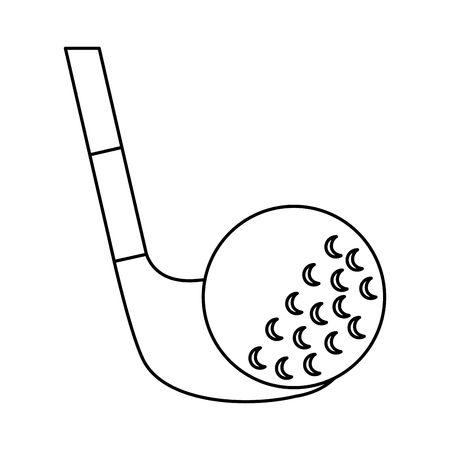 Golf club and ball sport recreation vector illustration