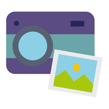 Camera with picture illustration design. 向量圖像