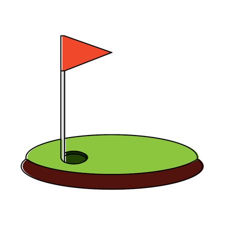 Cartoon golf vlag met gat gras veld vectorillustratie Stock Illustratie