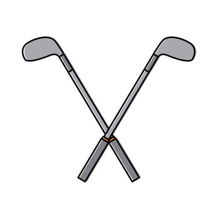 Crossed golf clubs stick 向量圖像