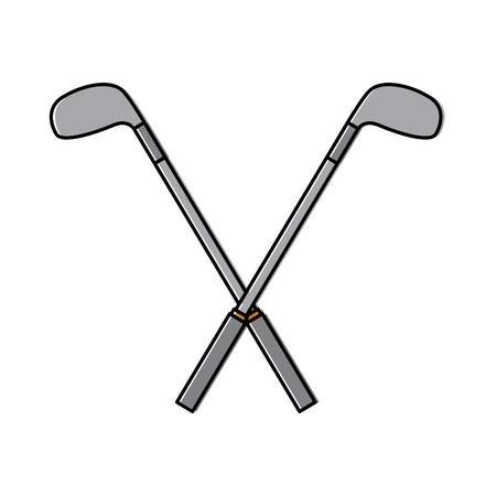 Gekruiste golfclubs blijven hangen