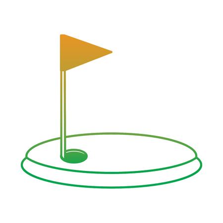 cartoon golf flag with hole grass field vector illustration
