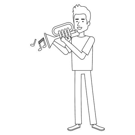 Mens het spelen trompetavatar illustratieontwerp. Stock Illustratie
