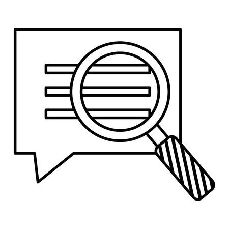 Speech bubble with magnifying glass illustration design. Ilustração