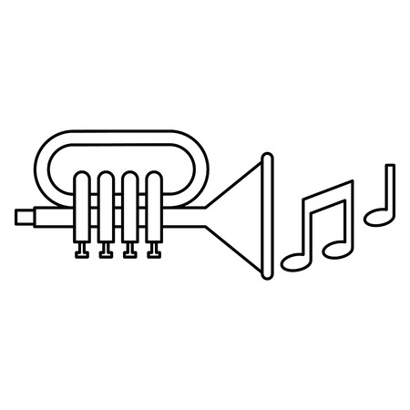 Trumpet with music notes illustration design. Vectores