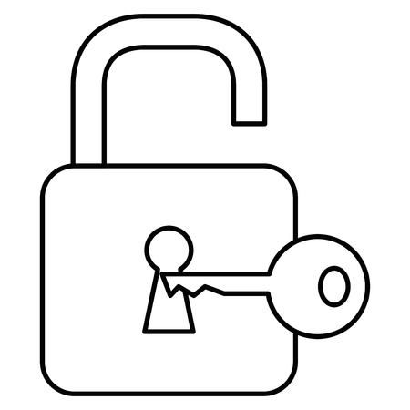 Safe secure padlock with key illustration design. Ilustração