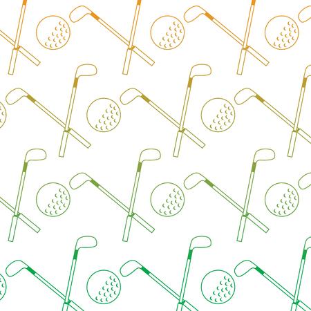 crossed golf club and ball sport game recreation pattern vector illustration Ilustração