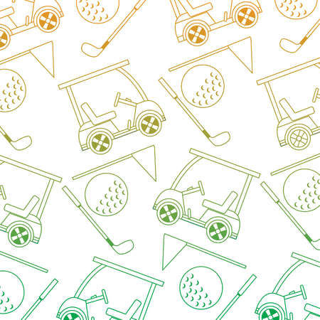 golf club car sport and flag ball seamless pattern vector illustration Иллюстрация