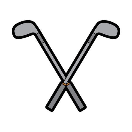Crossed golf clubs stick equipment image illustration. Ilustração