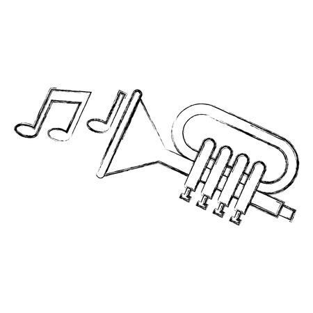 Trumpet with music notes  illustration design. 向量圖像
