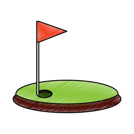 Cartoon golf vlag met gat gras veld illustratie.