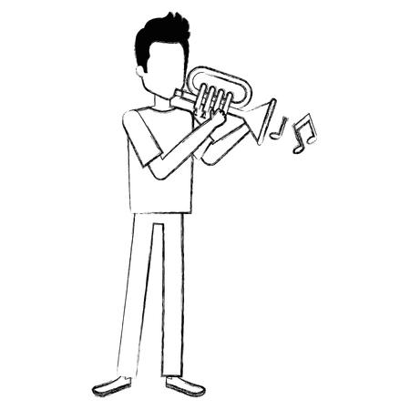 Man spelen trompet avatar vector illustratie ontwerp Stock Illustratie