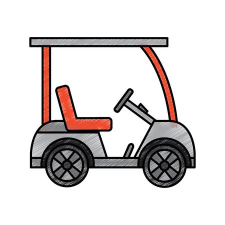 Golf sportwagen voertuig vervoer illustratie.
