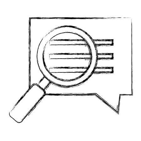 Speech bubble with magnifying glass  illustration design.
