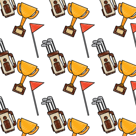 Golf club trophy flag and bag full equipment sport pattern vector illustration