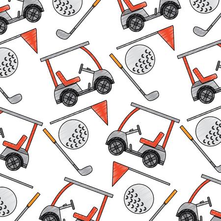 Golf sportwagen en vlag bal patroon illustratie.