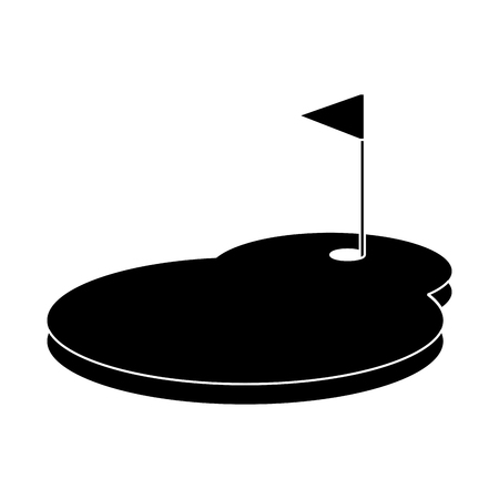 Cartoon golf flag with hole grass field vector illustration Illustration