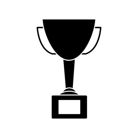 Trophy award winner prize pedestal icon vector illustration Ilustração