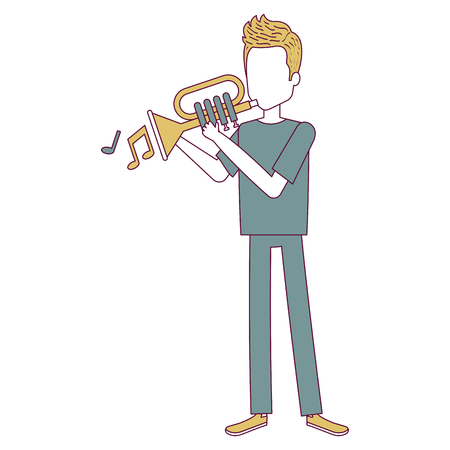Man playing trumpet avatar illustration.
