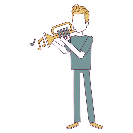 Mens het spelen trompetavatar illustratie.