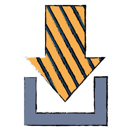 矢印ダウンロード分離アイコンイラスト。