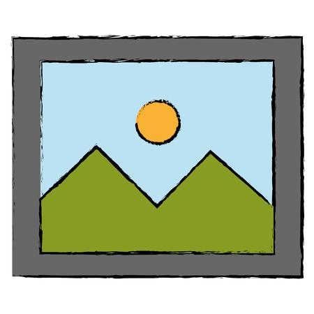 landscape snapshot isolated icon vector illustration design