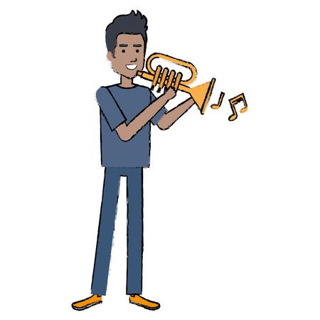 Man playing trumpet avatar illustration.