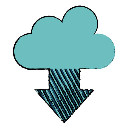Cloud computing with arrow download illustration.