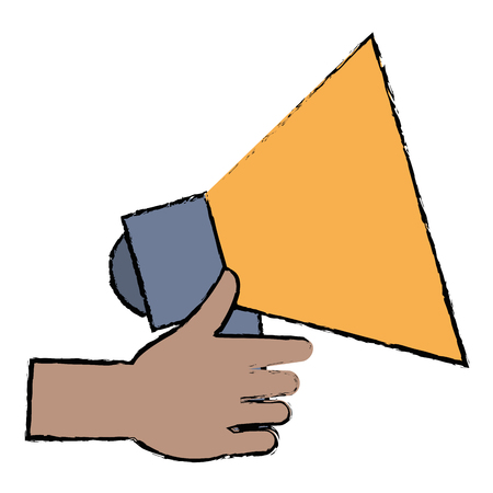 hand with megaphone sound isolated icon vector illustration design