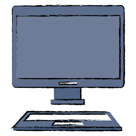 デスクトップ コンピュータが分離したアイコンの図。  イラスト・ベクター素材