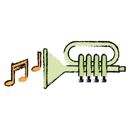 Tromba con progettazione dell'illustrazione di vettore delle note di musica Archivio Fotografico - 92141403
