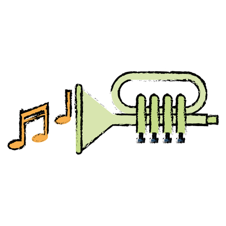 Trumpet with music notes vector illustration design 向量圖像